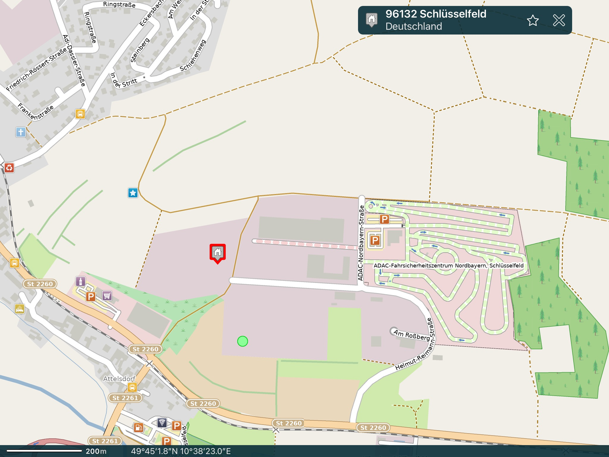© App PocketEarth - GeoMagik / Adresse: Helmut-Reimann-Straße 2, 96132 Schlüsselfeld